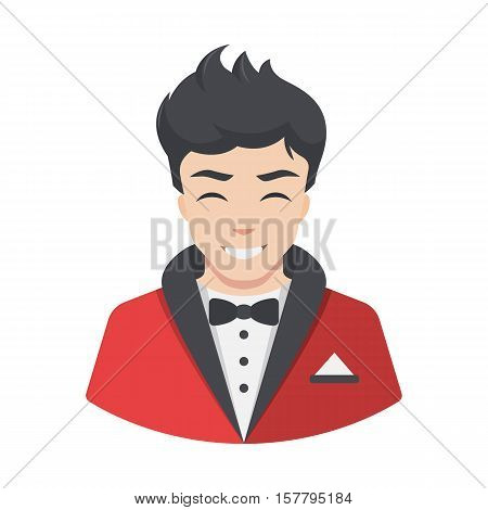 Actor icon. Rich celebrity men actor in suit tailcoat. Flat style vector illustration isolated on white background.
