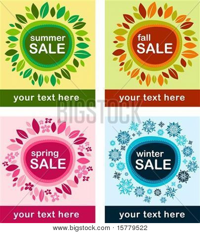 Four seasonal sale posters with floral frame