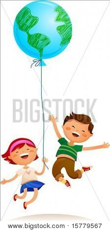 Two kids playing with Earth balloon