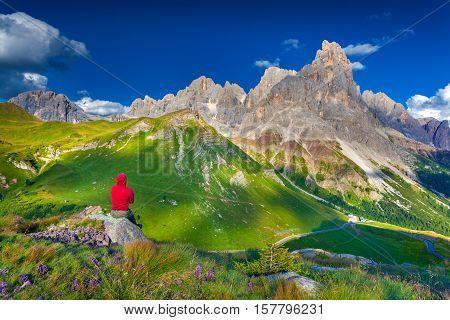 Climber Admiring Of The Landscape Of Pale Di San Martino