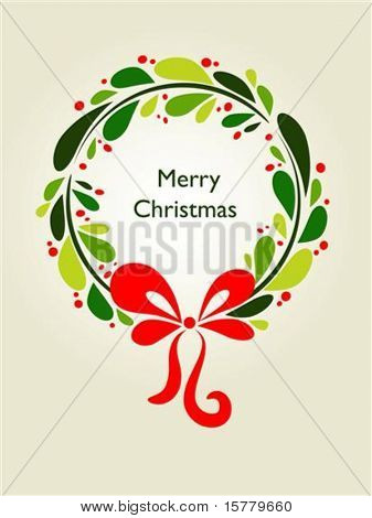 Christmas wreath card template - 1