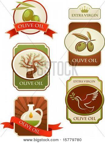 Oliven-Labels-Auflistung isoliert auf weißem Hintergrund.