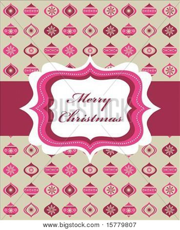 Pink Christmas background with retro frame and Christmas balls, vector illustration