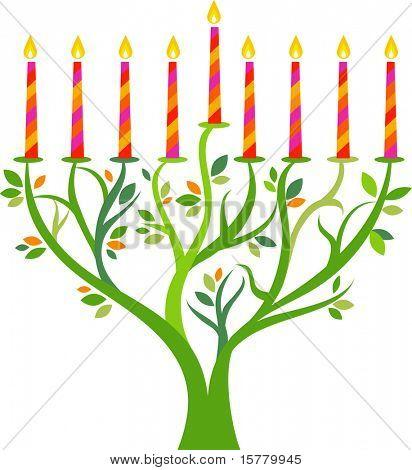 Hanukkah menorah tree with candles
