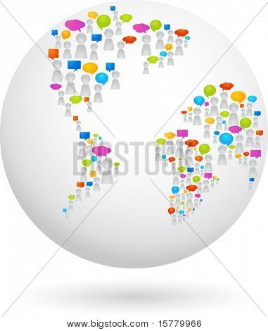Globe made from abstract figures and speech bubbles