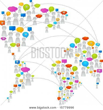 World map made from abstract figures and speech bubbles