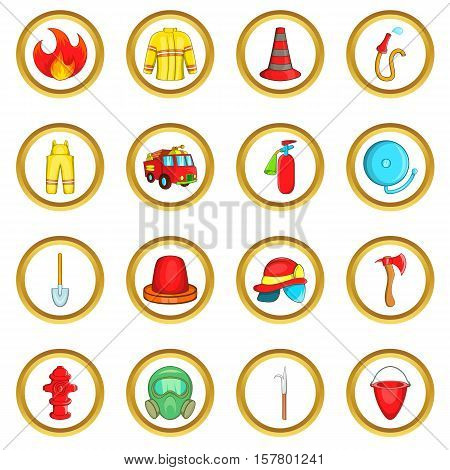 Fireman vector set in cartoon style isolated on white background