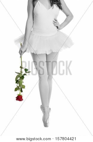 Young ballerina with red rose posing and dancing on a white background in studio