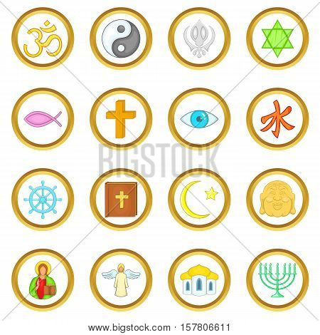Religion vector set in cartoon style isolated on white background