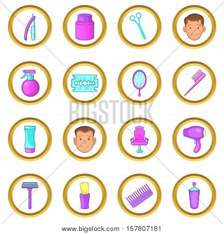 Barbershop vector set in cartoon style isolated on white background