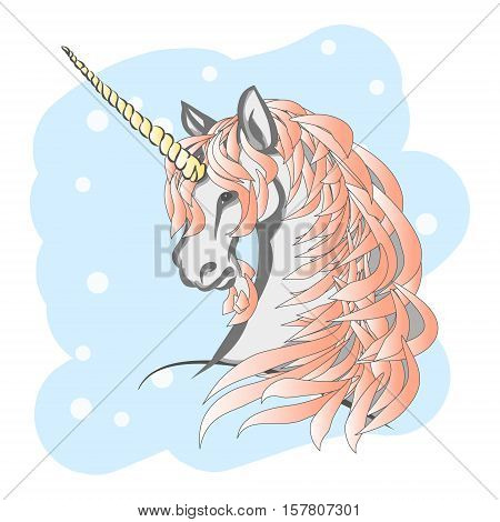 Winter unicorn with a pink mane (gradient). Horse head with a horn on his forehead. Vector illustration