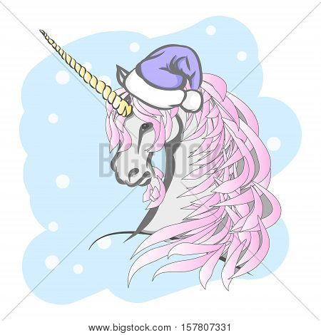 Unicorn in a Santa hat. A mythical horse with a horn on his forehead. Vector illustration for Christmas.