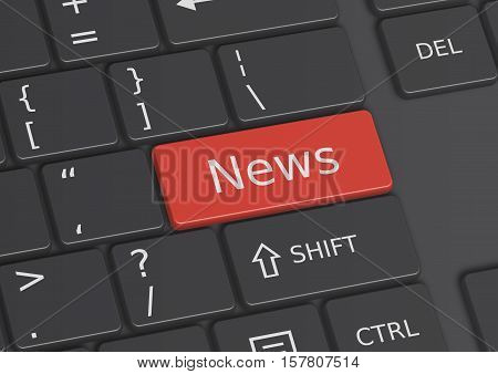 The word News written on a red key from the keyboard