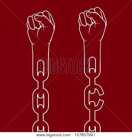 Fists on chain breaking link - freedom and suffrage concept