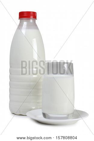 Glass bottle with milk on white background