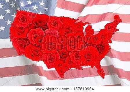 Floral design of USA map on national flag background