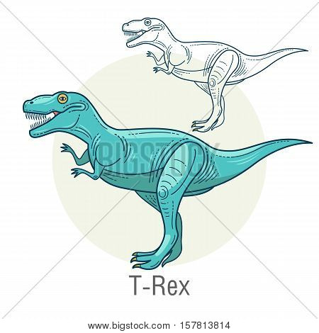 Tyrannosaurus. Ancient jurassic reptile vector illustration cartoon prehistoric dinosaur isolated on white background. Full-color flat images animal and abstract linear.