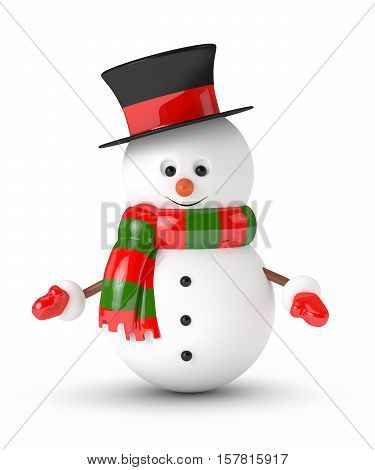 3D Rendering Of Snowman Isolated Over White