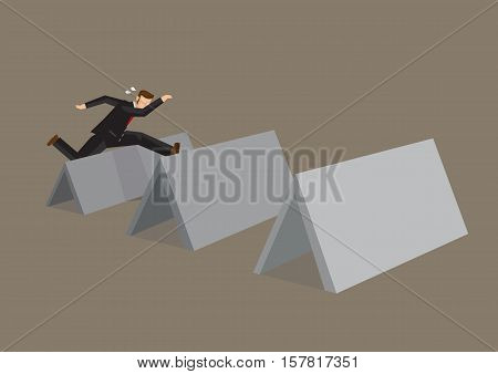 Professional businessman jumps over series of blank obstacle blocks with copy space for custom text. Cartoon vector illustration on overcoming challenges concept.