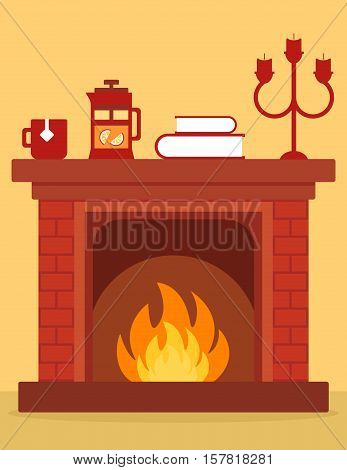 cozy fireplace on room. cartoon red brick fireplace on home with burning fire.