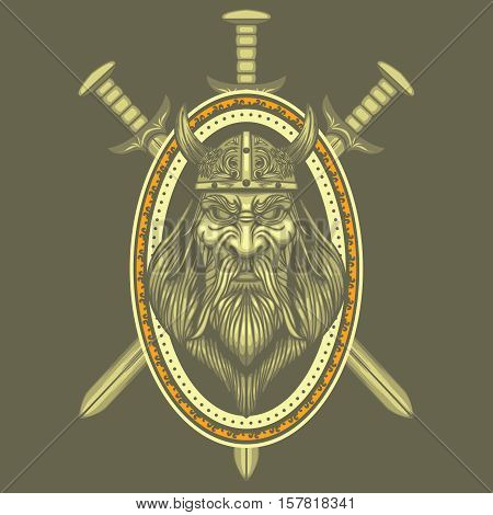 Viking and Swords vector illustration Medieval Crest Coat of Arms