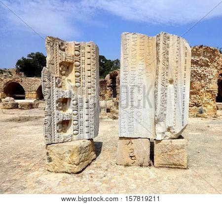 Carthago (Carthage). Old Carthage ruins in Tunisia. Ruins of capital city of the ancient Carthaginian civilization. UNESCO World Heritage Site