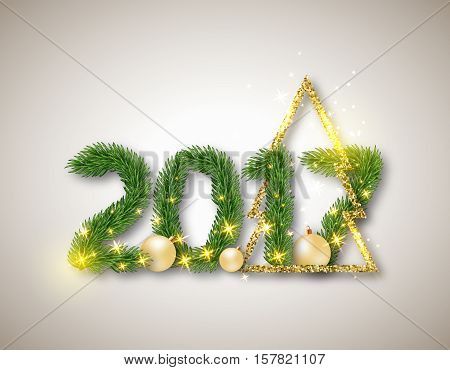2017 numeric from fir branches with abstract gold christmas tree and ball. Christmas concept with glowing lights background. Vector illustration.