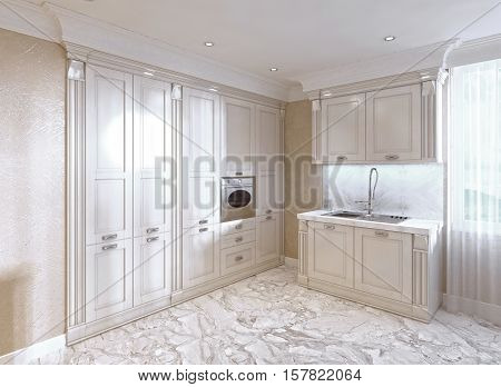 Classic Kitchen With A Breakfast Bar In Ivory.