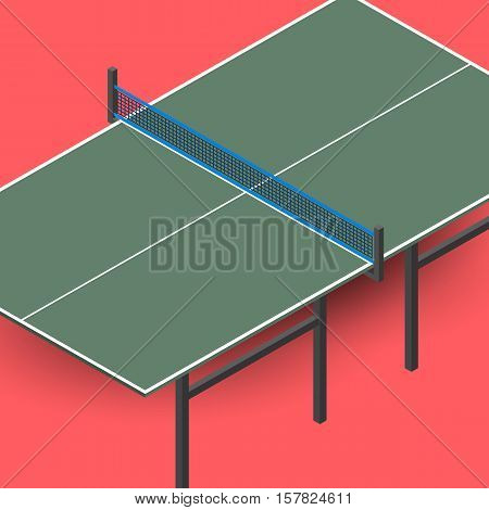 Table for tennis and ping pong in the isometric view isolated on red background design elements sports equipment vector illustration.