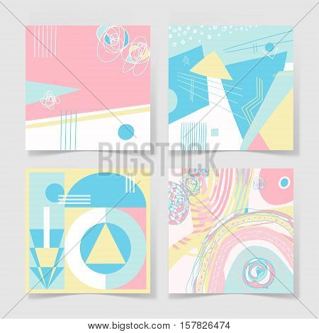 set of 4 posters with abstract trendy pattern background to wedding, birthday, greeting card, web design and other, hand draw vector illustration in bright pastel colors