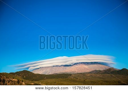 Mount Teide Covered With The Cap Of Clouds