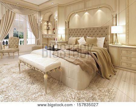 Luxury Bed In A Large Neoclassical Bedroom With Decorative Niche In The Wall.