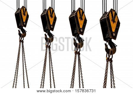 Crane hook and chain isolated on white background