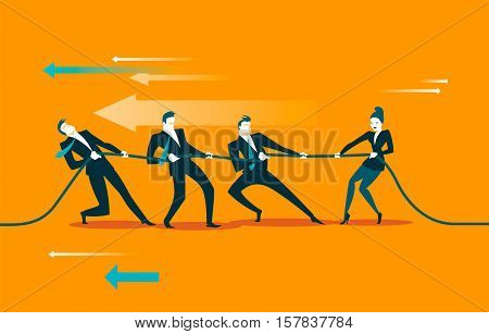 Rope pulling. Tug, war. Business concept. Vector illustration