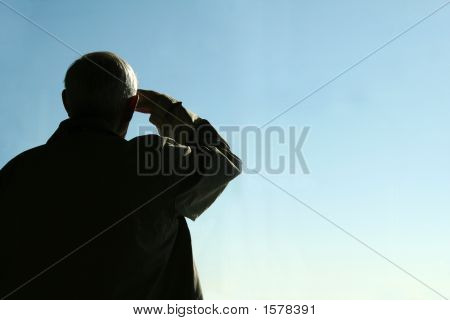 Elderly Man Saluting
