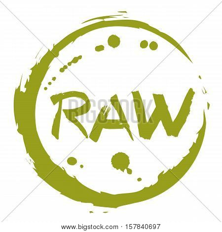 Raw food hand drawn round label isolated vector illustration. Healthy food symbol. Raw icon. Logo for vegetarian restaurant menu, cafe, farm market and organic products packaging. Raw food lettering