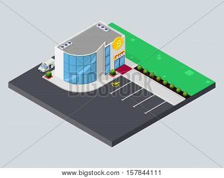Bank isometric building. Modern Bank with parking and Cash-in-transit truck. Flat isometric icon. Welcome to bank. Vector illustration