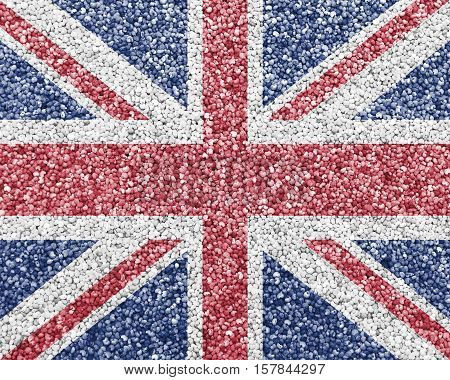 Colorful and crisp image of flag of Great Britain on poppy seed