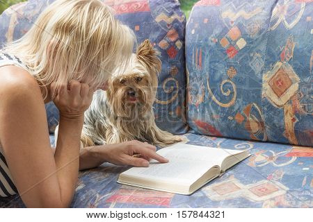 Blond woman is reading book together with Yorkshire terrier. The dog is looking at the camera.