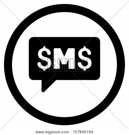 SMS Message vector rounded icon. Image style is a flat icon symbol inside a circle, black color, white background.