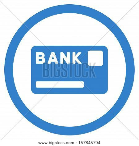 Bank Card vector rounded icon. Image style is a flat icon symbol inside a circle, cobalt color, white background.