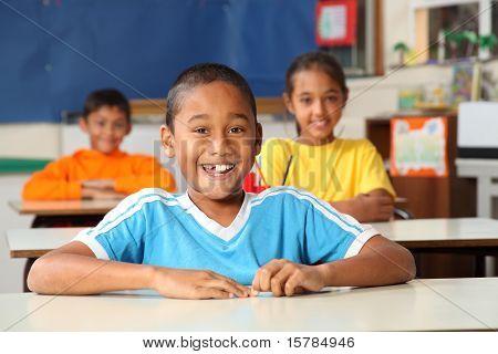 Cheerful primary school children
