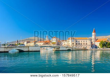 Waterfront view at coastal town Trogir, famous touristic and historic place in Croatia, Europe.