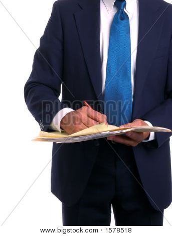 Businessman In Suit Holding File Wiriting