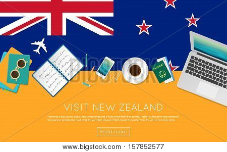 Visit New Zealand Concept For Your Web Banner Or Print Materials. Top View Of A Laptop, Sunglasses A