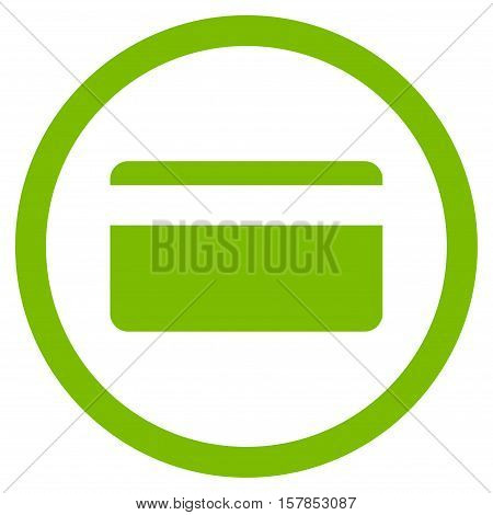 Plastic Card vector rounded icon. Image style is a flat icon symbol inside a circle, eco green color, white background.