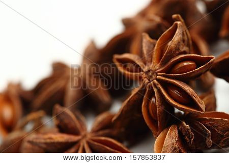 Star Anise Seeds Isolated On White Background