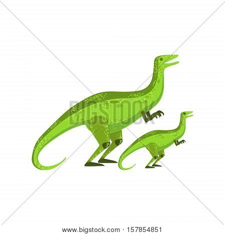 Velociraptor Dinosaur Prehistoric Monster Couple Of Similar Specimen Big And Small Cartoon Vector Illustration. Part Of Jurassic Reptiles Species Collection Of Childish Drawings.