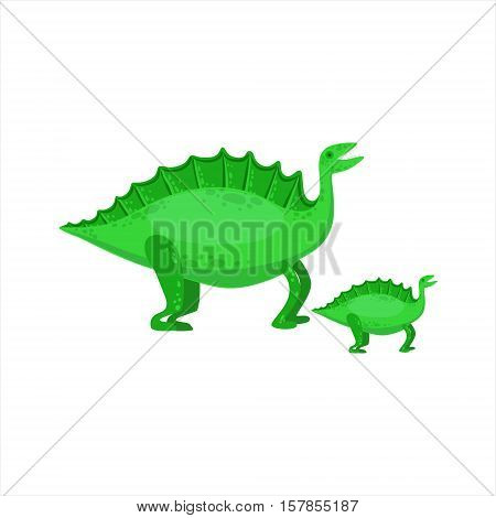 Stegosaurus Dinosaur Prehistoric Monster Couple Of Similar Specimen Big And Small Cartoon Vector Illustration. Part Of Jurassic Reptiles Species Collection Of Childish Drawings.