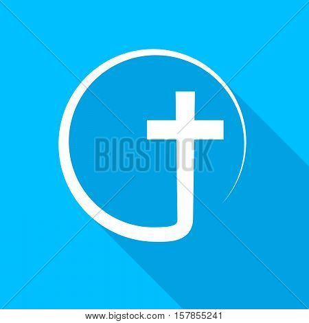 Christian cross icon with long shadow. Vector illustration.